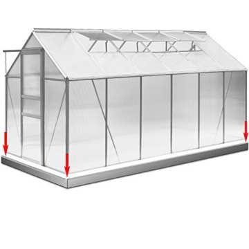 Gewächshaus Aluminium 11,73m³ mit Stahlfundament Treibhaus Gartenhaus Frühbeet Fundament -
