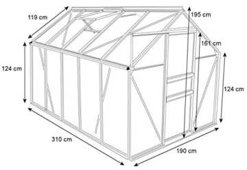 Zelsius - Set: 5,9 m² Aluminium Gewächshaus + Fundament, Garten Treibhaus, 310 cm x 190 cm, 6 mm Hohlkammerstegplatten, inkl. Fundament -
