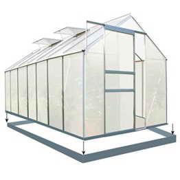 Zelsius - Set: 8,2 m² Aluminium Gewächshaus + Fundament, Garten Treibhaus, 430 cm x 190 cm, 6 mm Hohlkammerstegplatten, inkl. Fundament -
