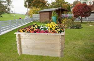 Hochbeet Fichte Gartenfreude aus Blockbohlen - Sockelmaß: 148 x 98 cm, Bohlenstärke: 28 mm -