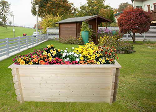 Hochbeet Gartenfreude aus Blockbohlen - Sockelmaß: 198 x 98 cm, Bohlenstärke: 44 mm -
