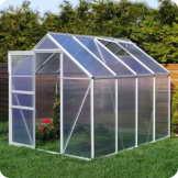 Aluminium Gewächshaus mit Fundament verschiedene Modelle Treibhaus Garten Pflanzenhaus Alu Tomatenhaus (190x250, Silber) -