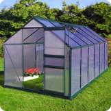 Aluminium Gewächshaus mit Fundament verschiedene Modelle Treibhaus Garten Pflanzenhaus Alu Tomatenhaus (190x370, Grün) -
