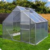 Aluminium Gewächshaus mit Fundament verschiedene Modelle Treibhaus Garten Pflanzenhaus Alu Tomatenhaus (250x190, Silber) -