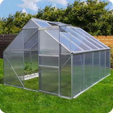 Aluminium Gewächshaus mit Fundament verschiedene Modelle Treibhaus Garten Pflanzenhaus Alu Tomatenhaus (250x310, Silber) -