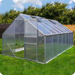 Aluminium Gewächshaus mit Fundament verschiedene Modelle Treibhaus Garten Pflanzenhaus Alu Tomatenhaus (250x490, Silber) -