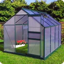 Aluminium Gewächshaus mit Fundament verschiedene Modelle Treibhaus Garten Pflanzenhaus Alu Tomatenhaus (190x250, Grün) -