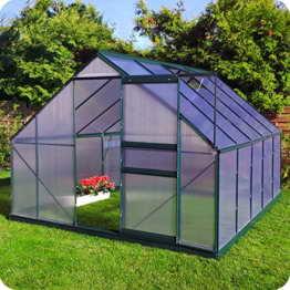 Aluminium Gewächshaus mit Fundament verschiedene Modelle Treibhaus Garten Pflanzenhaus Alu Tomatenhaus (250x310, Grün) -