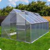 Aluminium Gewächshaus mit Fundament verschiedene Modelle Treibhaus Garten Pflanzenhaus Alu Tomatenhaus (250x370, Silber) -