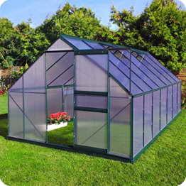 Aluminium Gewächshaus mit Fundament verschiedene Modelle Treibhaus Garten Pflanzenhaus Alu Tomatenhaus (250x430, Grün) -