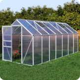 Aluminium Gewächshaus mit Fundament verschiedene Modelle Treibhaus Garten Pflanzenhaus Alu Tomatenhaus (190x430, Silber) -