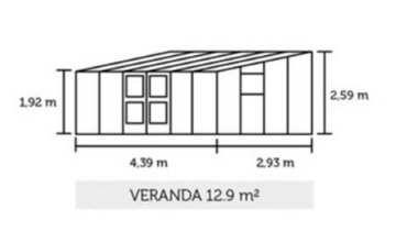 Gewächshaus Juliana Veranda 12,9m² Alu / 3mm Sicherheitsglas -