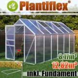 Gewächshaus mit Fundament 8,17m² - 190x430cm Garten Pflanzenhaus Alu Treibhaus Tomatenhaus -