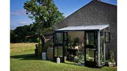 JULIANA Anlehngewächshaus Veranda 4,4, BxT: 296x149 cm, schwarz-silber schwarz, silberfarben -