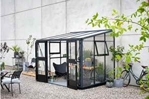 JULIANA Anlehngewächshaus Veranda 6,6, BxT: 296x221 cm, schwarz-silber schwarz, silberfarben -