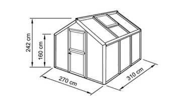 BECKMANN Gewächshaus Allplanta® 1, BxT: 270x310cm, aluminiumfarben silberfarben -