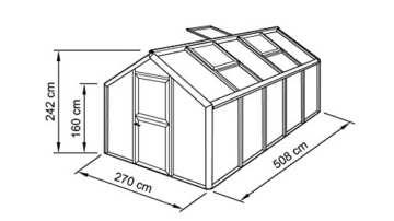 BECKMANN Gewächshaus Allplanta® 3, BxT: 270x508 cm, grün dunkelgrün -