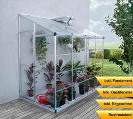 Palram Aluminium Anlehngewächshaus Gartenhaus Lean To 8x4 Silber // 244x124,5x225 cm (LxBxH); Treibhaus & Tomatenhaus zur Aufzucht -
