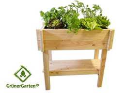 """Bio-Hochbeet für Balkon und Terasse GrünerGarten® """"GRÖN H2"""" - Holz, schadstofffrei, mit praktischer Ablage, LxBxH ca. 100x60x100 cm -"""