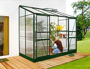 Ida 3300 Alu-Anlehngewächshaus grün HKP 4 mm Balkon-Gewächshaus 3,3 m² mit Fundament -