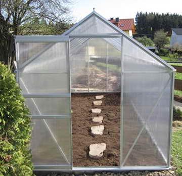 4,75m² ALU Aluminium Gewächshaus Glashaus Tomatenhaus, 6mm Hohlkammerstegplatten - (Platten MADE IN AUSTRIA/EU) inkl. Fenster mit autom. Fensteröffner von AS-S -