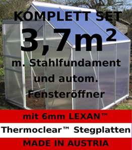 KOMPLETTSET: 2,5 - 7m² ALU Aluminium Gewächshaus Glashaus Tomatenhaus, 6mm Hohlkammerstegplatten - (Platten MADE IN AUSTRIA/EU) m. Stahlfundament, Fenster mit autom. Fensteröffner von AS-S, Größe:3.7m² -